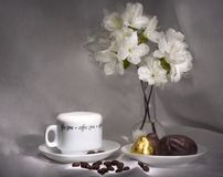 Coffee and sweets (simple breakfast series). Coffee cup with foam Stock Image