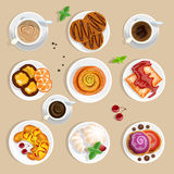 Coffee And Sweets Top View Set Royalty Free Stock Photo