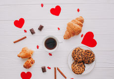 Coffee, sweets,valentine`s day. Coffee, sweets, biscuits on a white background. valentine`s day Royalty Free Stock Photography