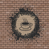 Coffee symbol illustration in brick wall Royalty Free Stock Images