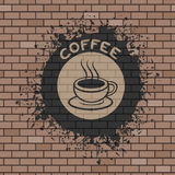Coffee symbol illustration in brick wall Stock Images