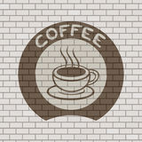 Coffee symbol illustration in brick wall Stock Photography