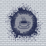 Coffee symbol illustration in brick wall Royalty Free Stock Photography