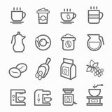Coffee symbol line icon set Royalty Free Stock Photos