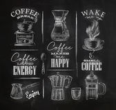 Coffee symbols chalk Stock Image