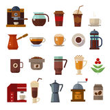 Coffee symbols set. cup vector icons Stock Images
