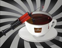 Coffee and syringe Stock Photo