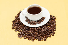 Coffee on the table. Coffee on the wooden background Stock Photography