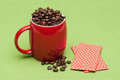 Coffee on the table. Coffee on the green background Royalty Free Stock Photos
