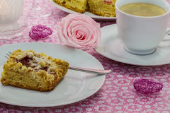 Coffee table cake with plums Stock Photography