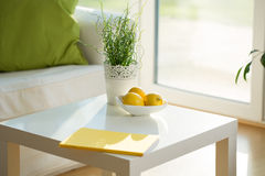 Coffee table. Close-up of white coffee table in lounge Royalty Free Stock Photo