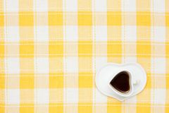 Coffee on the table cloth Stock Photography