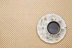 Coffee on the table cloth Stock Photos