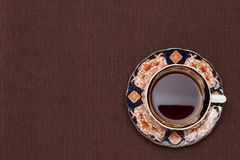Coffee on the table cloth Royalty Free Stock Photos
