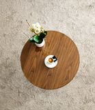 Coffee table with cup of cappuccino coffee and plant., on white background stock photo