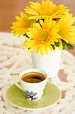 Coffee on table with flower Royalty Free Stock Photography