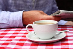 Coffee on table outdoor A Royalty Free Stock Images