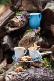 Coffee table setting outdoors Stock Image