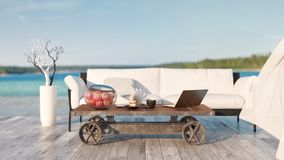 Coffee table, sofa. Outside the house and equipment for work and leisure. 3d rendering and illustration Royalty Free Stock Image