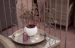 Coffee table on the veranda, Scandinavian style home decoration royalty free stock photo