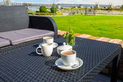 Coffee table at Vistula river in Tczew. Poland Royalty Free Stock Image