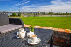 Coffee table at Vistula river. In Tczew, Poland Royalty Free Stock Images