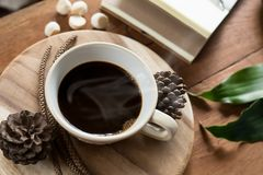 Coffee on table and wodden stock photo