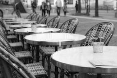 Coffee tables in Paris street Stock Image