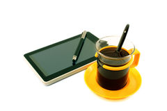 Coffee and tablet Stock Photo