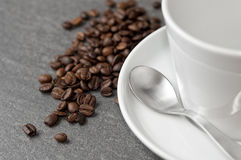 Coffee tableware with beans Royalty Free Stock Photography