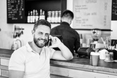 Coffee take away option for busy people. Man with smartphone order coffee. Coffee break concept. Lets meet in cafe. Man. Mobile conversation cafe barista stock photos