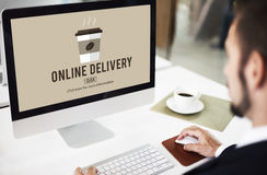 Coffee Take Away Order Online Delivery Menu Concept Stock Images