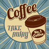 Coffee,  take away retro poster Royalty Free Stock Image