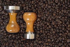 Coffee and tamper background Stock Images
