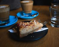Sweet tart cake in a cafe royalty free stock images