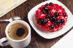 Coffee and tasty cake with berries Stock Photos