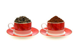 Coffee and tea isolated on white background. Coffee and tea in the luxurious coffee cup isolated on white background royalty free stock photos