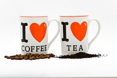 Coffee and tea. Cofe and tea cap love Royalty Free Stock Photography