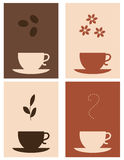 Coffee and tea. Four coffee and tea designs Royalty Free Stock Photos