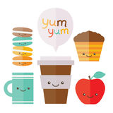 Coffee, tea, apple. cupcake. macaroon Stock Images