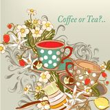 Coffee or tea background with hand drawn cups in vintage style Stock Photo