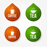 Coffee and tea badges and stickers Stock Photo