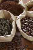Coffee and tea in bags Stock Photos