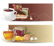 Coffee and tea banners. Highly detailed coffee and tea banners royalty free illustration