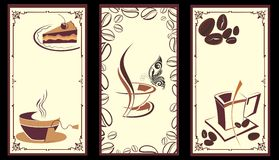 Coffee,tea banners with butterfly Stock Image