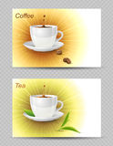 Coffee and tea cards Royalty Free Stock Photo