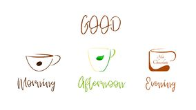 Coffee, Tea, Chocolate - A good drink at any time of the day vector illustration