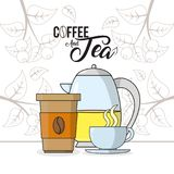 Coffee and tea concept. Coffee and tea cup and kettle icon vector illustration graphic design Stock Images
