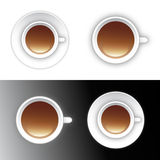 Coffee or tea cup icon design. Isolated vector design with hot brown coffee or tea brewed beverage inside white cup - one version with saucer and one without stock illustration