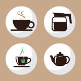 Coffee and Tea Cup Icons Flat Set 3 stock images